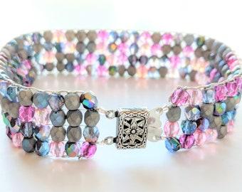 Glass Beaded Cuff Bracelet/Loomed Beaded Bracelet/Purple-Pink-Gray bracelet