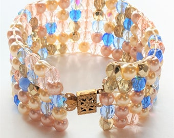 Glass and Pearl Beaded Cuff Bracelet/Loomed Beaded Bracelet/Pearl Bracelet/Ivory-Pink-Blue bracelet