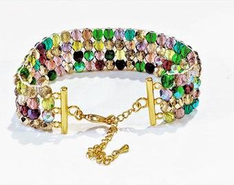 Czech Glass Beaded Cuff Bracelet, Loomed beaded bracelet, Spring Wedding Bracelet