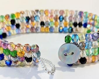 Glass Beaded Cuff Bracelet/Multi-Color Bracelet/Loomed Beaded Bracelet