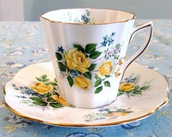 Vintage Rosina English Bone China Tea Cup & Saucer Yellow Roses