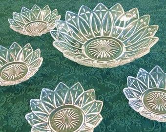 Vintage Federal Clear Glass Petal Pointed Bowl Set