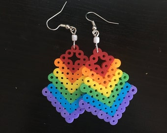 LGBT LGBTQ LGBT+ Queer Pride Lesbian Gay Trans Transgender Bi Bisexual Femme Earrings Perler Hama Bead Arrow
