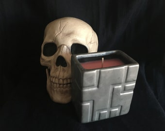 Candle Ceramic Jar Upcycled Fragranced Scented Gift DnD TTRPG Ambience Atmosphere Vampire Strahd Gothic Castle Fortress
