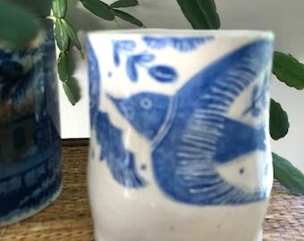 INDIGO SGRAFFITO Mug - Soaring Bird DOVE Amid Flowers - Handmade Stoneware Cobalt Stain - Asymmetrical Design - OOaK