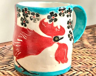 MUG Bright ROOSTER - Handmade - All RED with Black Detail and Turquoise Rims - Stoneware Cup - Hand Painted Design - One of a Kind!