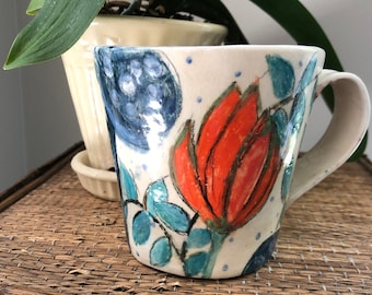 Summer FLORAL MUG - Bright Hot ORANGES and Lilac and Greens - Hand Painted Stoneware - OOaK