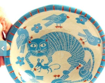SGRAFFITO Handmade ART Pottery Bowl - CAT, Mouse & Birds -Turquoise Orange Accents or Personalize Colors - Hand Built Ceramic Art