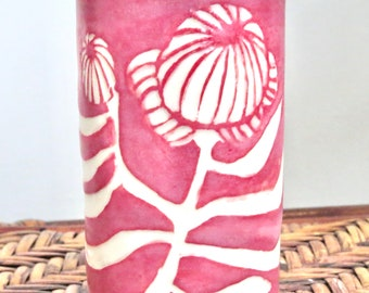 SGRAFFITO VASE - HANDMADE Small Cute Bud Vase - Sturdy Stoneware, Water Tight Of Course - Carved Flower Design - One of A Kind