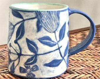 HANDMADE SGRAFFITO MUG Blue and White Floral - Abstract Flowers Swirl Gracefully - Stoneware Sturdy - Coffee Tea Mug Cup - OoAK Mug