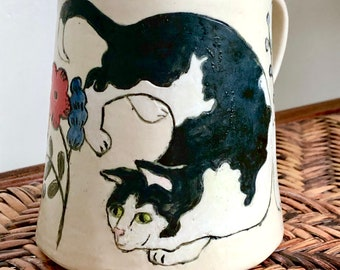 CAT Lovers! Playful Kitty Stalks Mouse on MISHIMA Carved MUG - Handmade From Stoneware Clay - Bird Flowers Bright Colors