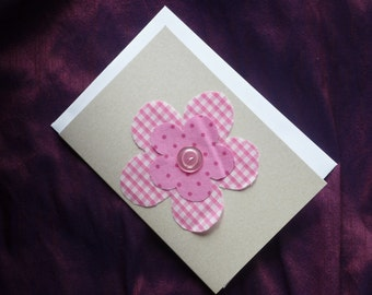 Birthday cards etsy uk pink fabric flower card using pink white gingham and pinks spotted fabrics suitable for m4hsunfo
