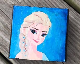Handpainted Elsa on wooden block