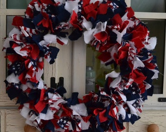 Red, white and blue wreath-Rag Wreath-Fabric Wreath-Patriotic-Americana-Stars and Stripes-4th of July-Independence Day-Veterans-Door Wreath