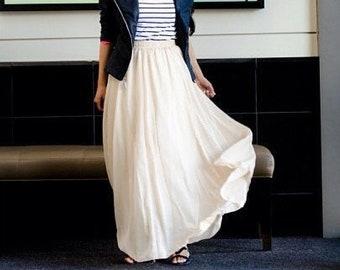 Ivory chiffon maxi skirt, off white chiffon skirt.