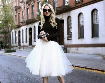 bead43aed117 White tulle skirt, tutu skirt,