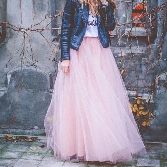 39ed6661e Light Pale Pink Maxi tulle skirt tutu skirtfloor length | Etsy