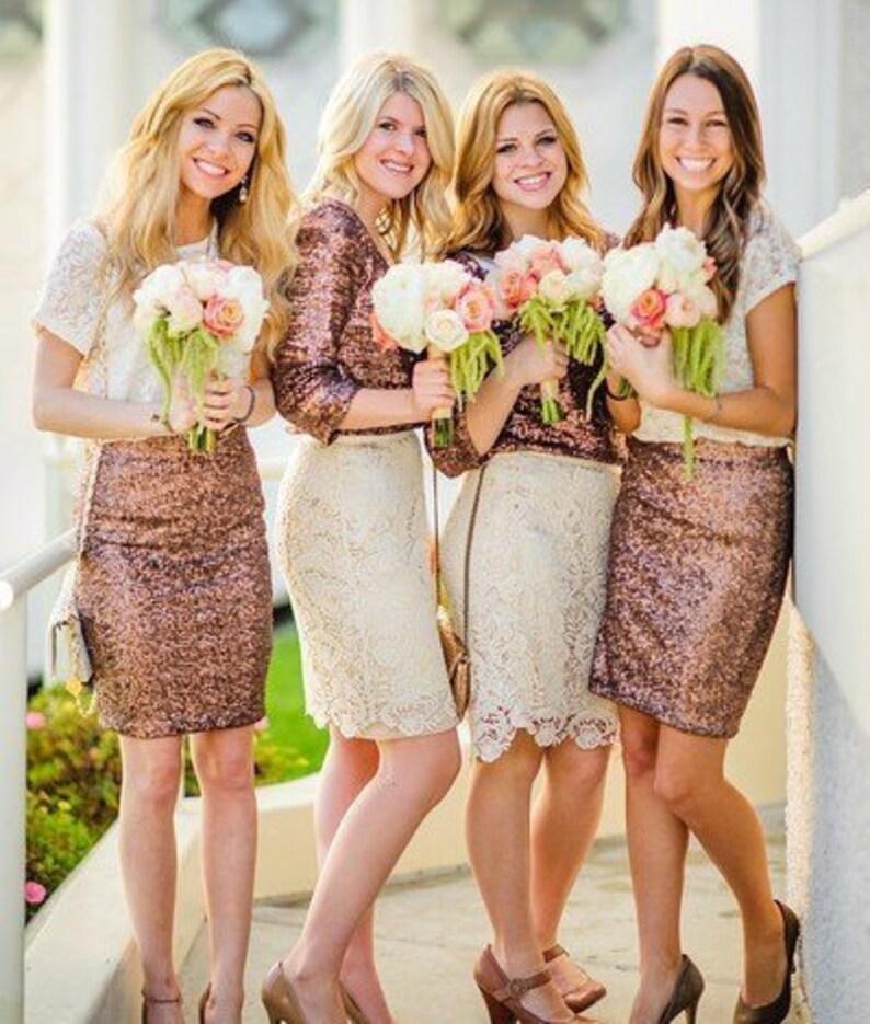 wedding engagement photoshoot outfit Women bridesmaid sequin midi mini skirt pencil skirt bridal separates