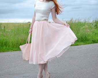 Tea length chiffon skirt