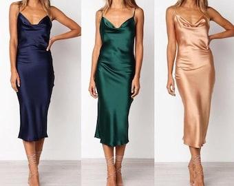 Women bridesmaid satin silky slip bias dress, cowl neck top , camisole dress, bias dress, silk dress, bridesmaid dress, wedding, engagement,