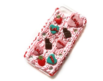 Hearts and chocolates Pink Iphone 7 Decoden Case, Kawaii Iphone 7 case, Pink Iphone 7 Case, Pastel Goth Case, Kawaii Decoden Case