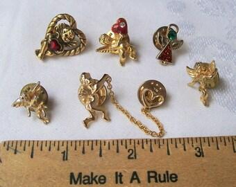 Vintage Gold Plated Metal TieTac Lapel Brooch Pin Angel Girl Rhinestones