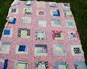 Vintage FEED SACK QUILT Multicolor Blocks Feedbag Backing Cotton Blanket Liner Cutter Project 67 quot x 82 quot Throw Boho Chic Cottage Project