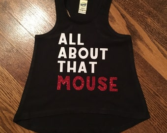 All about that mouse girls tank! Disney tank, disney family shirts, glitter, minnie mouse tank.
