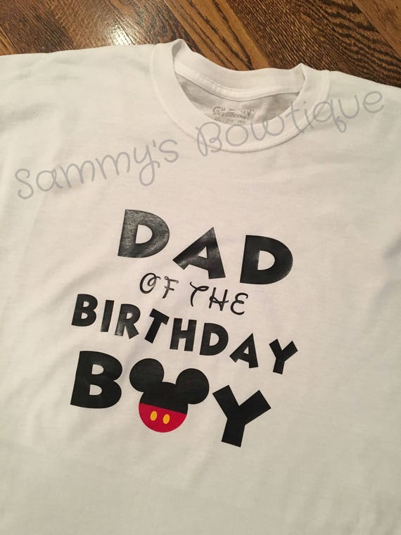 Dad Of The Birthday Boy Mickey Mouse Mens T Shirt Short