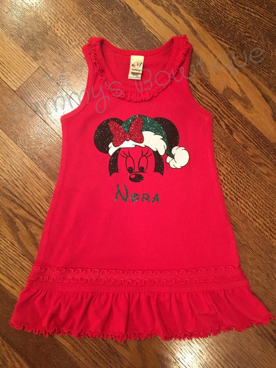 4150fa8850206 Christmas Minnie Mouse Personalized Girls Ruffle Tank Dress | Etsy
