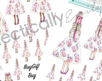 Pretty Presents Fashion Girl Stickers  | Fashion Illustration Stickers | Planner Stickers | Stickers for Erin Condren Life Planner
