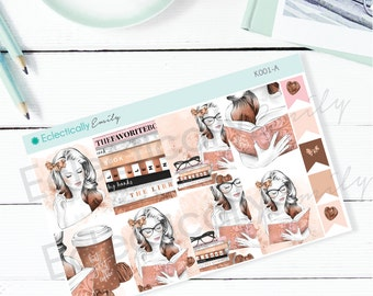 Reading Beauty Full Box Stickers | Planner Stickers | Stickers for Erin Condren Life Planner | Glam Stickers | K001-A