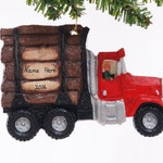 Log Truck Christmas ornament - personalized red logging truck ornament hand made in the USA
