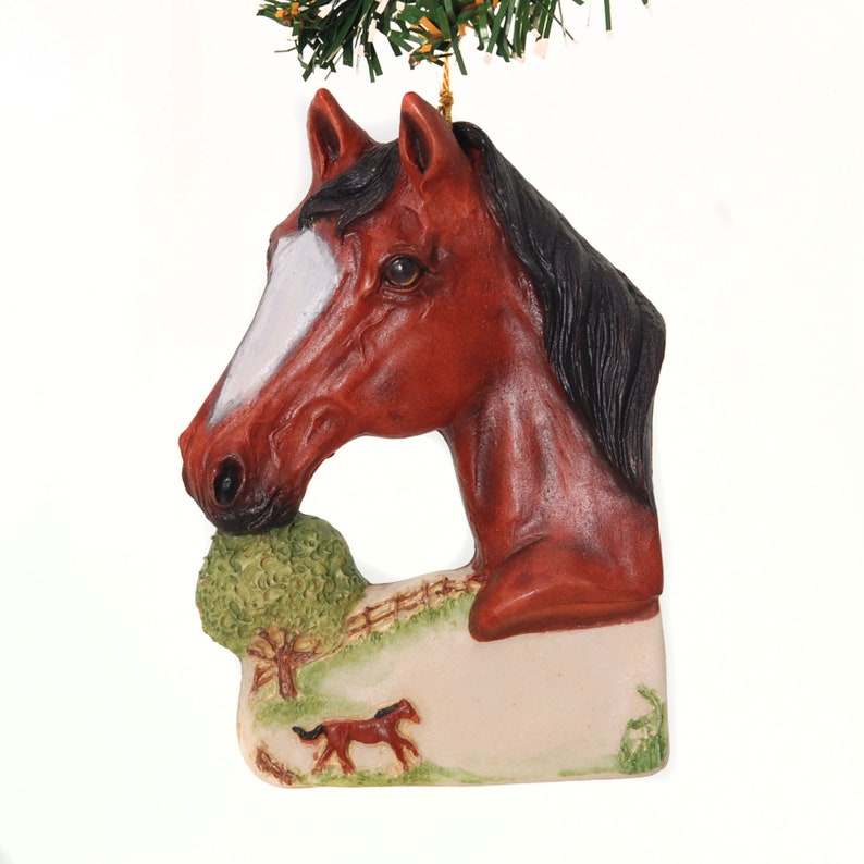 Bay Horse Ornament personalized horse Christmas ornament for image 0