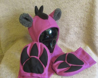 Maroon Monster Scoodie with Claw Mittens - Adult Sized