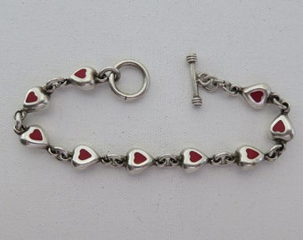 Vintage Sterling Silver 925 Coral Heart Link Bracelet with Toggle Clasp, Fits 8 Inch Wrist