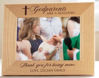 Godmother Godfather Godparents GIFT Personalized Picture Frame Baptism My Loving Godparents
