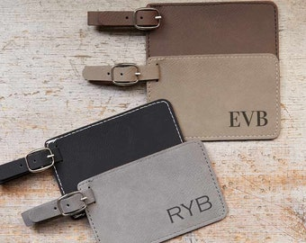 Monogrammed Luggage Tag by Lifetime Creations: Personalized Luggage Tag with Initials, Custom Bag Tag, Vegan Leather Luggage Tag