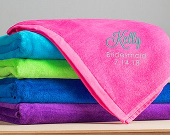 Embroidered Personalized Bridesmaid Beach Towel: Large Personalized Bridesmaid Towel, Personalized Bridesmaid Gifts, SHIPS FAST