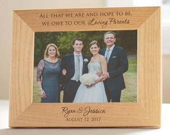 dad48fd0e4a2 Personalized Parents of the Bride   Groom Picture Frame by Lifetime  Creations  Engraved Wedding Frame Parents Gift