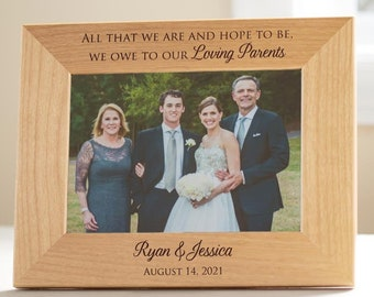 Personalized Wedding Picture Frame for Parents of Bride & Groom by Lifetime Creations: Wedding Gift for Parents Thank You SHIPS FAST