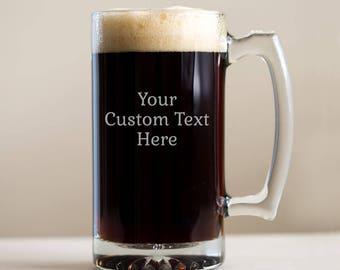 aa68c7d9e1f Create Your Own Custom Engraved Beer Mug  Large Custom Etched Beer Mug