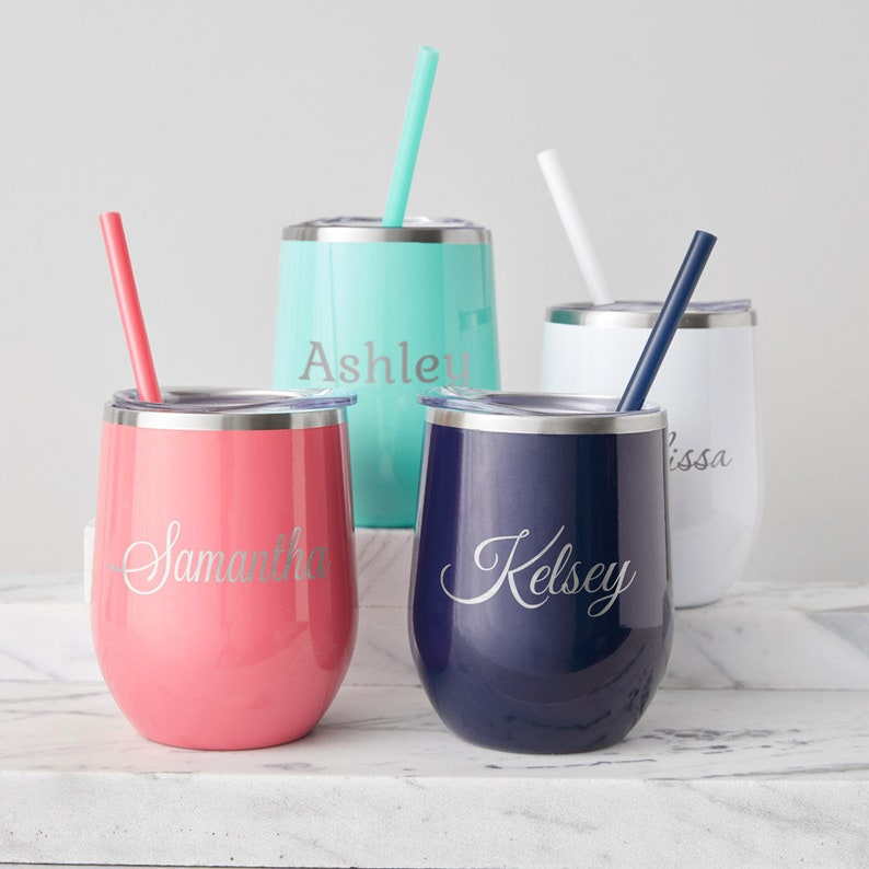 Engraved Personalized Wine Tumbler By Lifetime Creations Stainless Steel Stemless Wine Tumbler With Straw Stemless Wine Glass Ships Fast