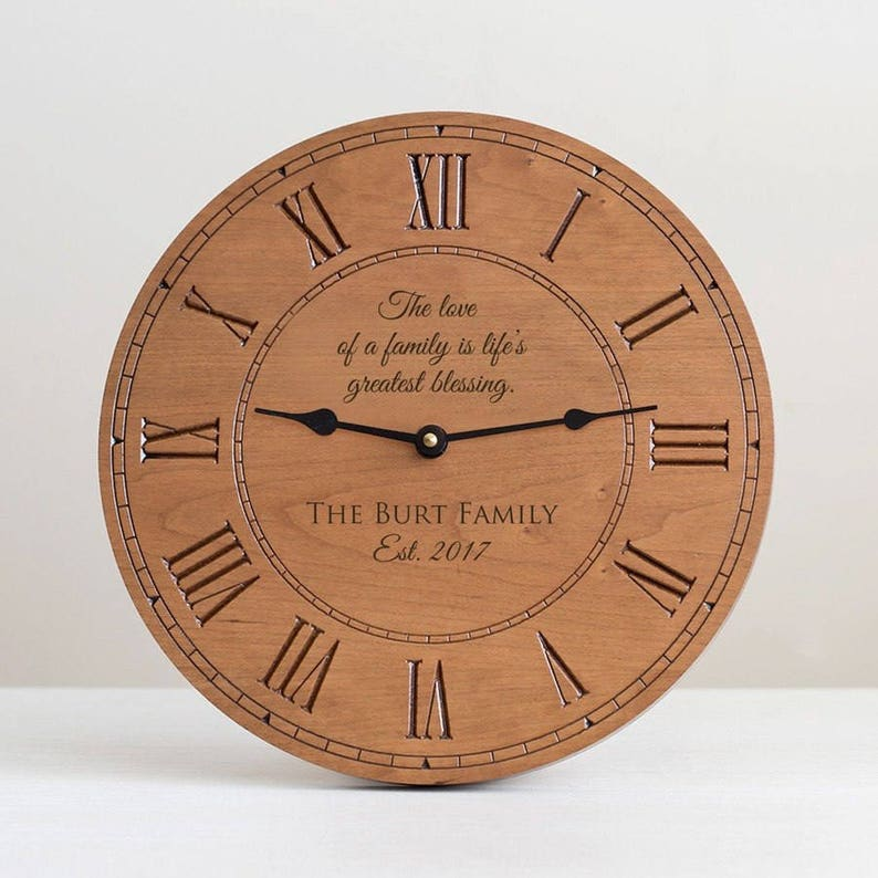 Personalized Family Wood Clock: Custom Wood Clock Engraved image 0
