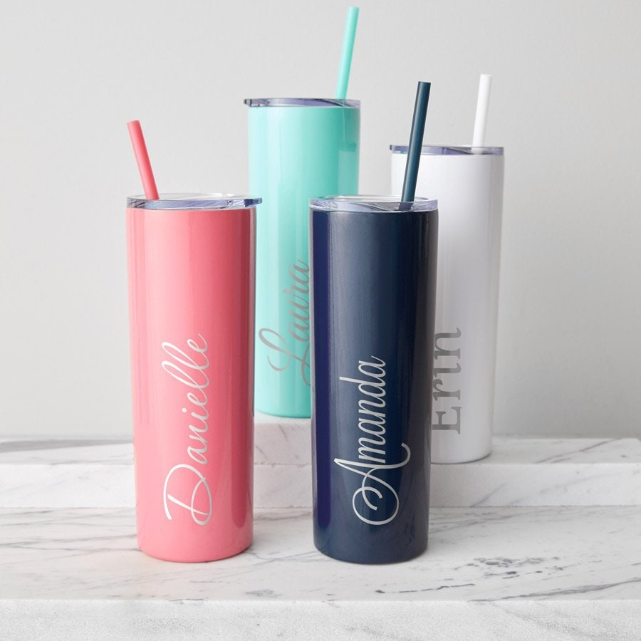 187e527fb1c Engraved Skinny Tumbler with Straw: Personalized Stainless Steel Tumbler,  Personalized Tumbler with Name, Bridesmaid Tumbler SHIPS FAST