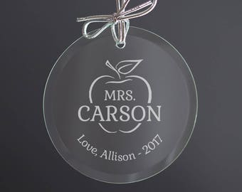 Personalized Teacher Ornament: Engraved Teacher Glass Ornament, Personalized Teacher Gift, Unique Teacher Holiday Gift, SHIPS FAST