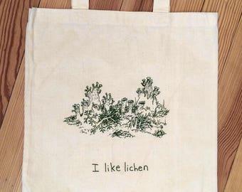I Like Lichen, small canvas bag