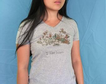 I Like Lichen, screen printed t-shirt, women's v-neck