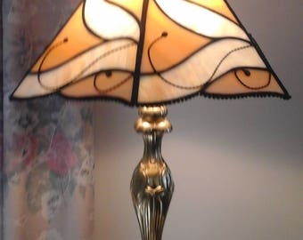 Stained glass lamp shade etsy 11 x 8 two tone stained glass lamp shade aloadofball Images