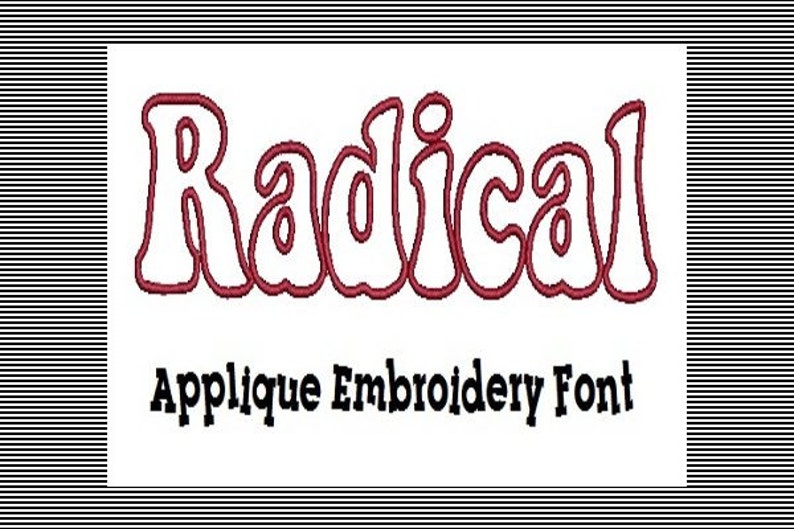 192 Machine Embroidery Applique Font Letters and Numbers Radical Font Instant Download